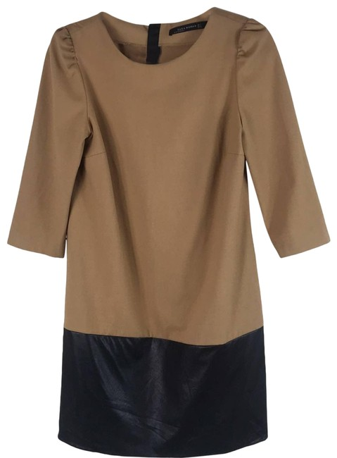 Item - Tan Faux Leather Color Block Shift Small Camel Black Mini Short Cocktail Dress Size 4 (S)