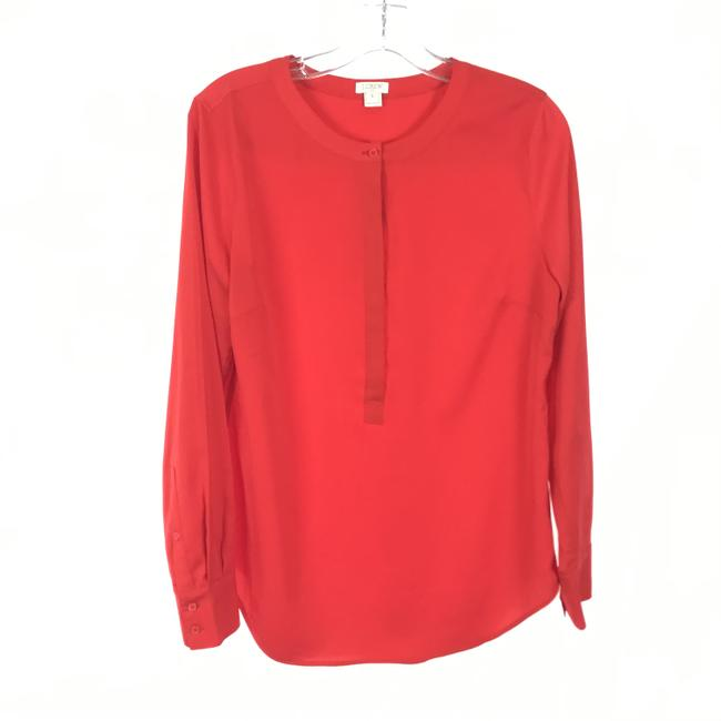 Item - Red Half Button Blouse Size 6 (S)