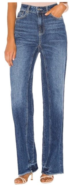 Item - Blue Medium Wash Slouch Wide Straight Leg Jeans Size 00 (XXS, 24)