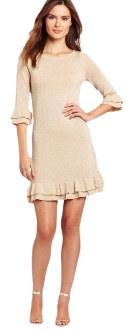 Item - Gold Helena Metallic Sweater Short Casual Dress Size 6 (S)