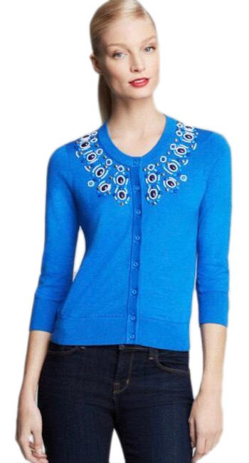 Item - Arcadia Cardigan Beaded Large Blue Sweater