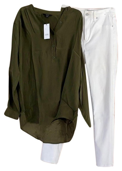 Item - Olive Green / Dark Zeal Silk Blouse Size 6 (S)