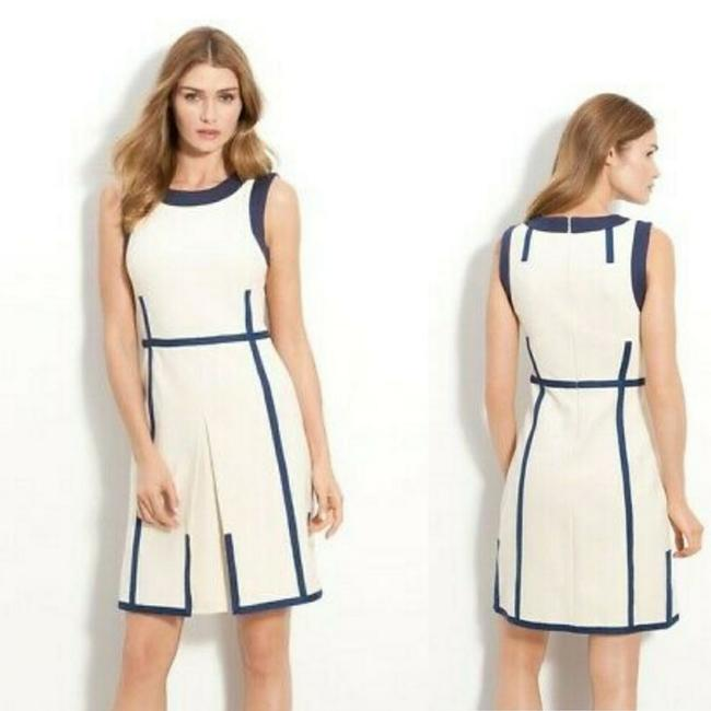 Item - Cream and Navy Addis Knit Short Work/Office Dress Size 6 (S)