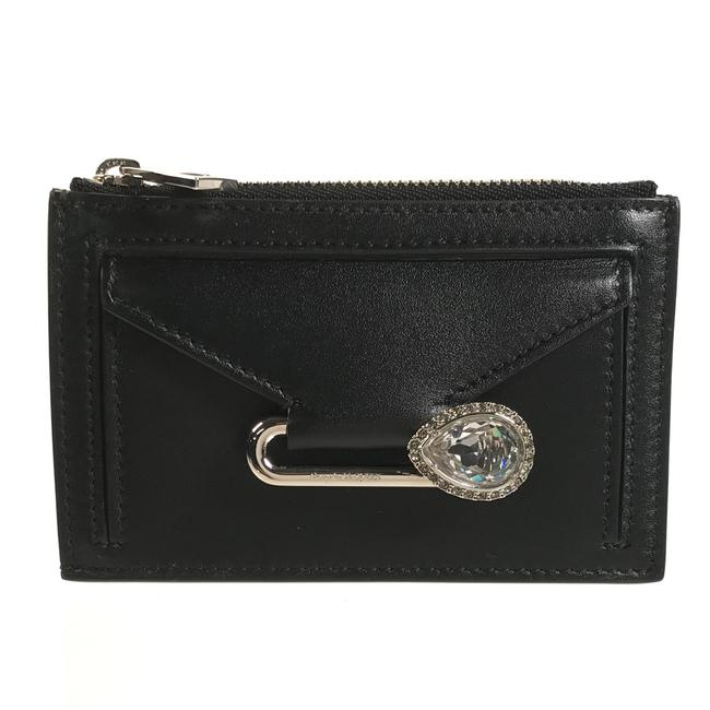 Item - Black New Mcqueen Leather Crystal Pin Mini Pouch Wallet