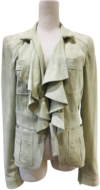 Item - Green Suede Ruche-accented Jacket Size 8 (M)