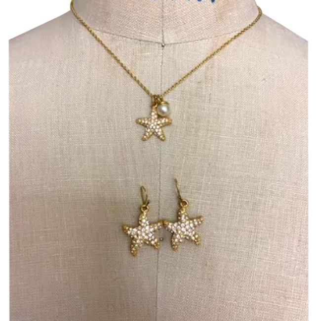 Item - Gold Rare Crystal & Pearl Starfish Earrings Set Necklace