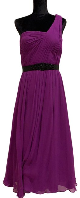 Item - Purple One Shoulder Silk Pleated Gown Long Formal Dress Size 10 (M)