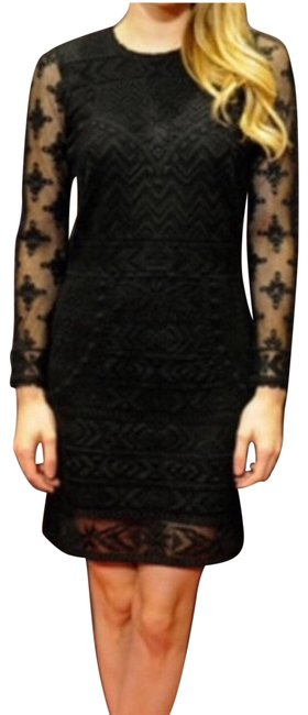 Item - Black Pour H&m Embroidered Party Sheath Mid-length Formal Dress Size 4 (S)