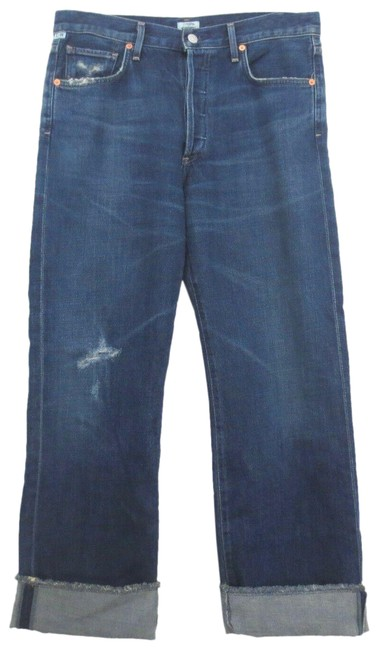 Item - Blue Dark Rinse Parker Relaxed Cuffed Cropped Boyfriend Cut Jeans Size 28 (4, S)