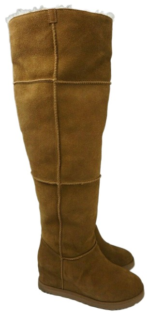 Item - Brown Classic Femme Over The Knee Chestnut Suede Fur Wedge Tall Boots/Booties Size US 9 Regular (M, B)