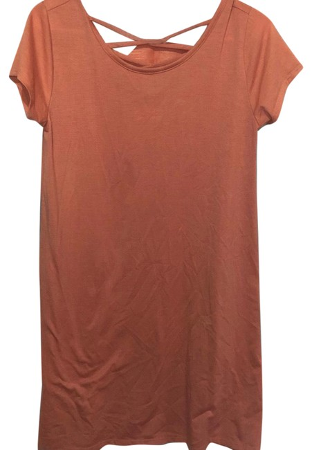 Item - Light Orange Criss Cross Back Tee Short Casual Dress Size 4 (S)