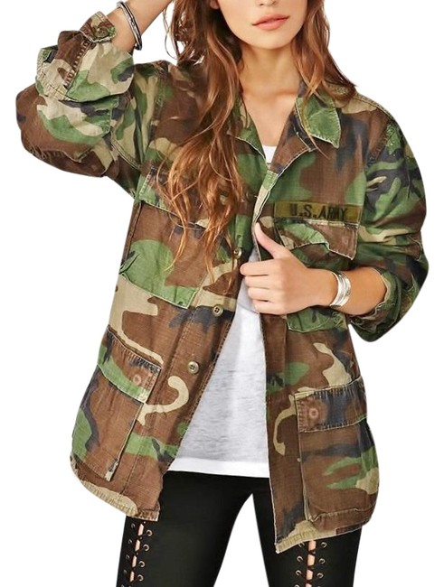 Item - Green Army Camo Woodland Field Coat Free Camouflage People Jacket Size 4 (S)