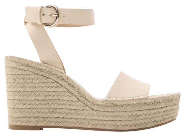 Item - White Leather and Jute Sandals Wedges Size US 7.5 Regular (M, B)