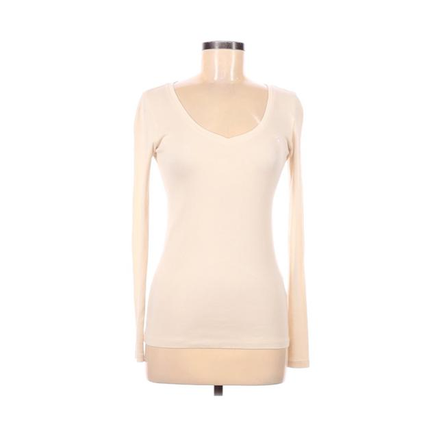 Item - Cream Long Sleeve V-neck Tee Shirt Size 8 (M)