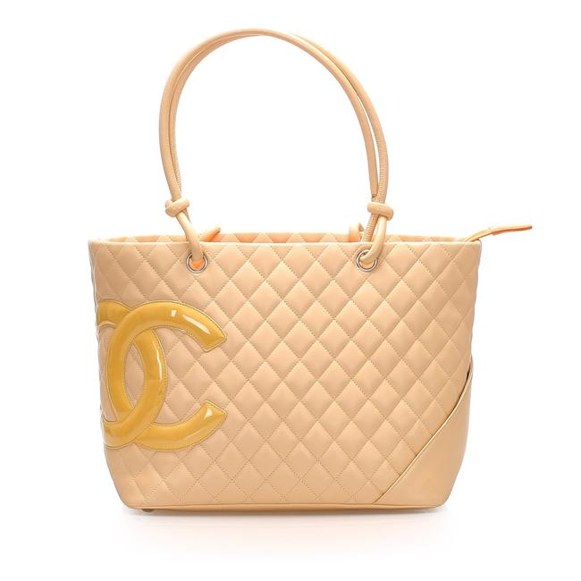 Item - Cambon Ligne Brown Lambskin Leather Tote