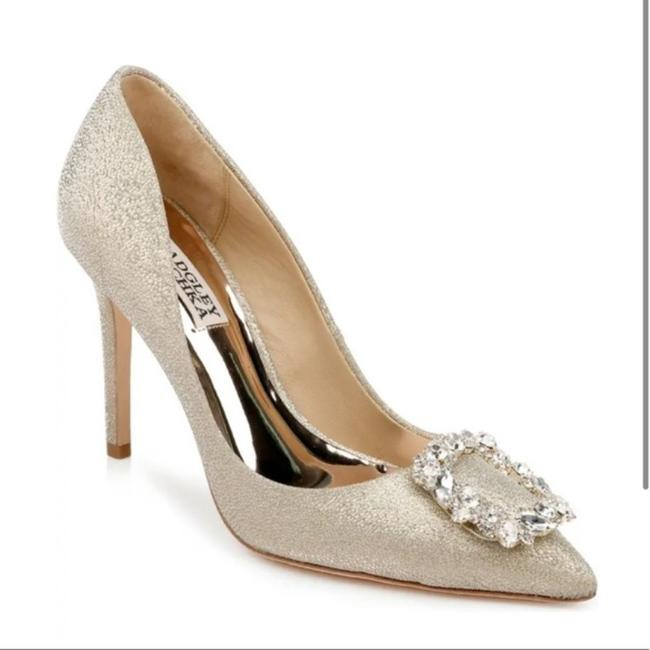 Item - Gold Silver Cher Crystal Embellished Platino Glitter Pumps Size US 8.5 Regular (M, B)
