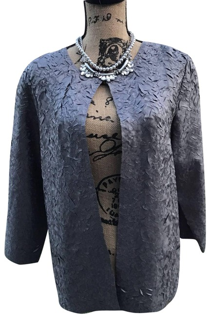 Item - Silver Crushed Woven Lucetta Jacket Travel Blazer Size 8 (M)