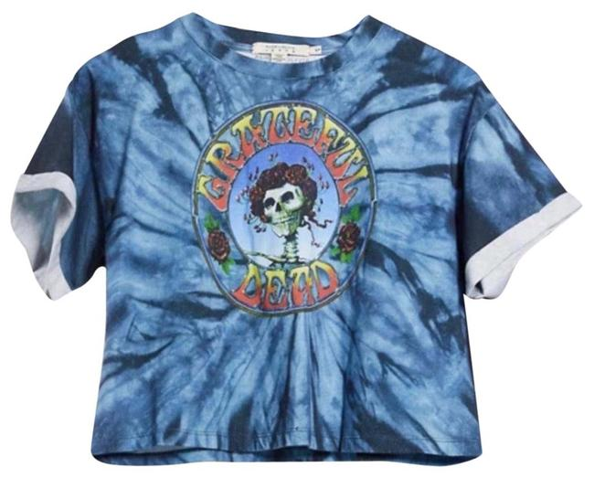 """Item - Blue Nwt- Alice+olivia Soft Tie-dyed Cotton with Skull and """"Grateful Dead"""" Prints On The Front. Tee Shirt Size 4 (S)"""