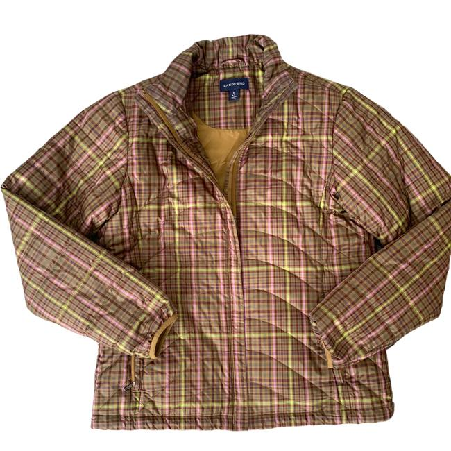Item - Brown Plaid Quilted Puffer Jacket Green S Small 6-8 Coat Size 6 (S)