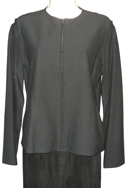 Item - Black Zippered Closure Long Sleeves No Lining No Collar Blazer Size 6 (S)