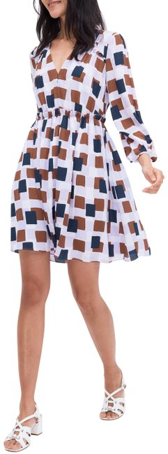 Item - Multicolor New York Geo Squares Long Sleeve Mid-length Cocktail Dress Size 6 (S)