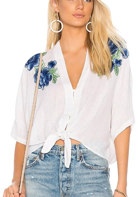 Item - Blue XS White Thea Rose Embroidery Blouse Size 0 (XS)