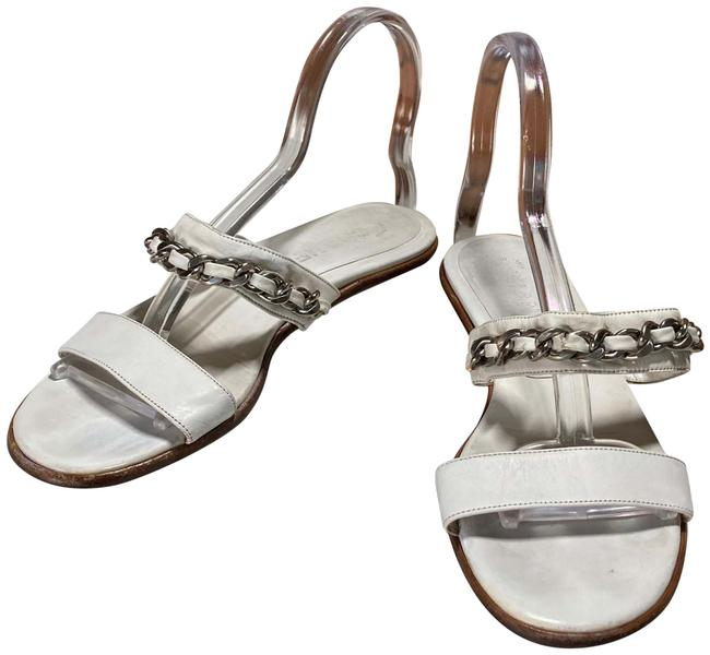 Item - White Silver Italy Sandals Size EU 36.5 (Approx. US 6.5) Regular (M, B)