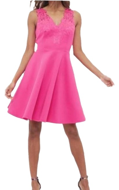 Item - Pink Taliia Embroidered Skater Mid-length Cocktail Dress Size 8 (M)