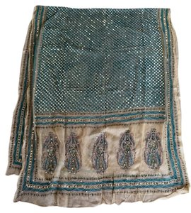 Authentic Embroidered Sari Shawl From India