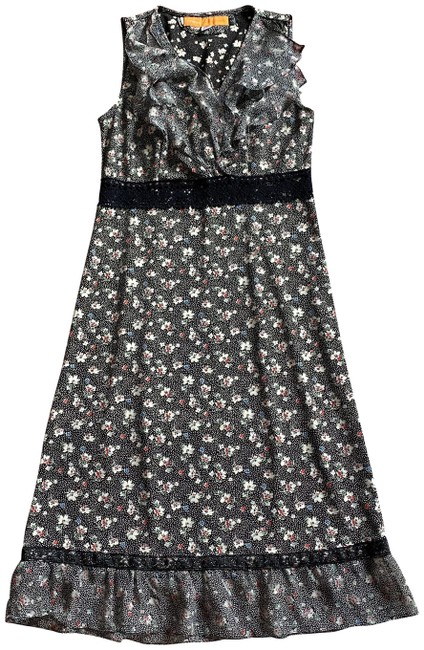 Item - Multicolor Floral Sleeveless Unlined Poly Silk Mid-length Short Casual Dress Size 4 (S)