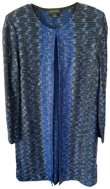 Item - Blue Tones with Black Collection Mid Length Jacket Blazer Size 8 (M)