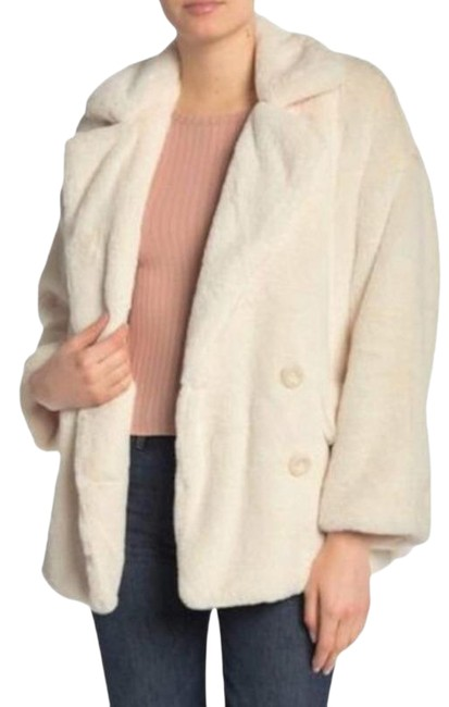 Item - White Cream Ivory Button Down Teddy Jacket Coat Size 4 (S)