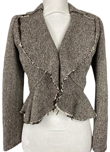 Item - Brown Frayed Hem Tweed - 2p Blazer Size Petite 2 (XS)