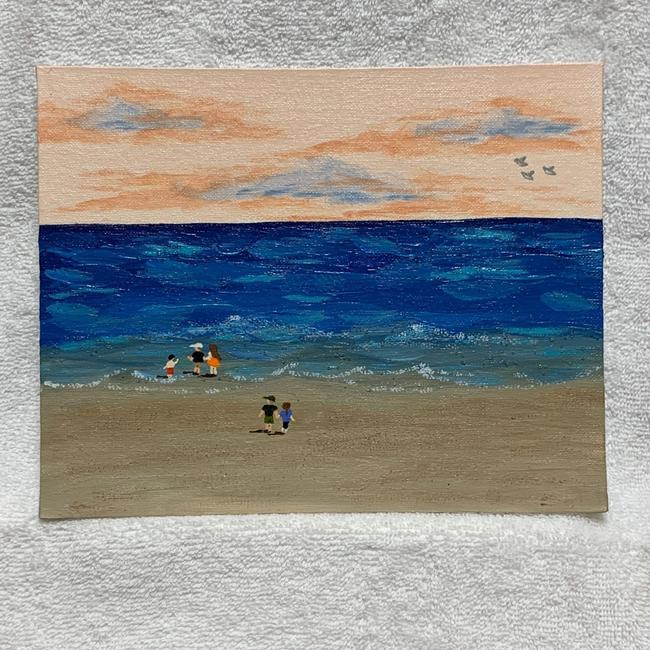 """Item - Blue Ocean Walk At Sunset Seascape Painting 8"""" X 10"""" Signed Decoration"""