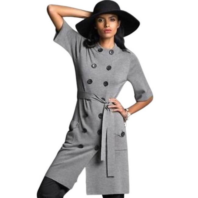 Item - Gray Merino Wool Military Style Knit Small Mid-length Short Casual Dress Size 4 (S)