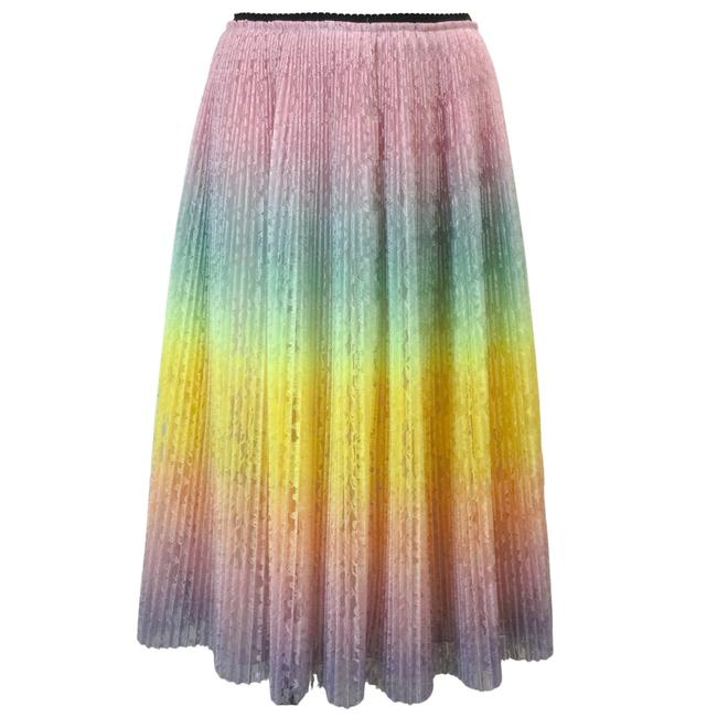Item - Multicolor Pastel Floral Lace Pleated Skirt Size 8 (M, 29, 30)