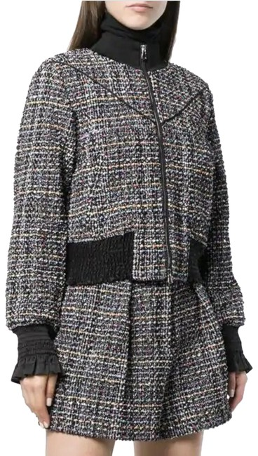 Item - Multicolor Cropped Boucle-tweed Textured Plaid Track Bomber Jacket Size 2 (XS)