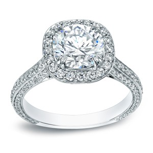 18k White Gold 3ct Tdw Certified Cushion Halo Engagement Ring (h-i Vs1-vs2)