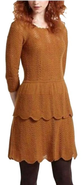 Item - Yellow Knitted & Knotted Mustard Sweater Work/Office Dress Size 12 (L)