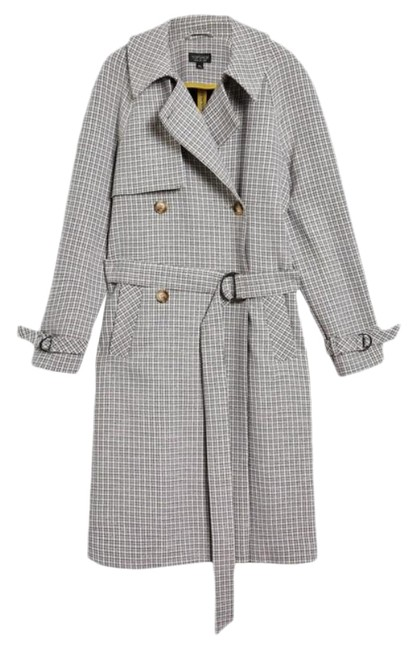 Item - Beige / Grey / Blue Tone Angle Double Breasted Check Plaid Raglan Belted Coat Size 6 (S)