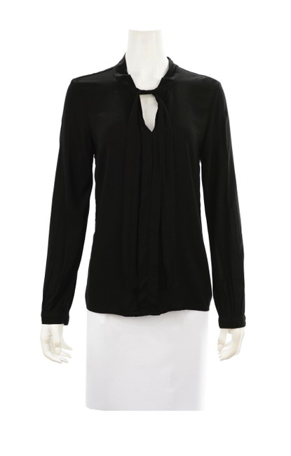 Item - Black Popover Keyhole Neck Shirt Small Blouse Size 4 (S)