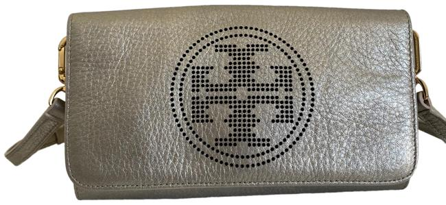 Item - Perforated Logo Clutch Gold Leather Cross Body Bag