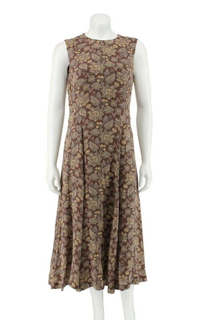 Jones New York Brown Floral Silk Chiffon Sleeveless A-line Long Work/Office Dress Size 10 (M) Jones New York Brown Floral Silk Chiffon Sleeveless A-line Long Work/Office Dress Size 10 (M) Image 1