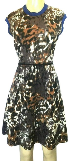 Item - Brown L Knit Animal Print Fit Flare Short Casual Dress Size 12 (L)