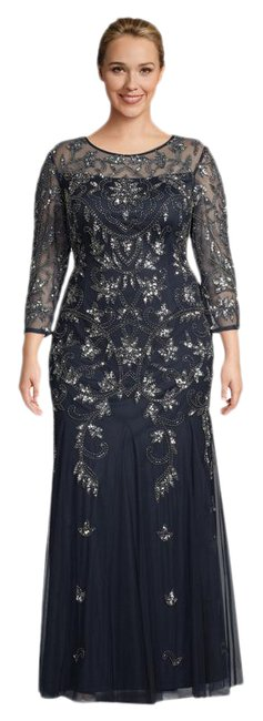 Item - Midnight Sheer 3/4 Sleeve Vine Beaded Gown with Godet Skirt 16w Long Formal Dress Size 16 (XL, Plus 0x)