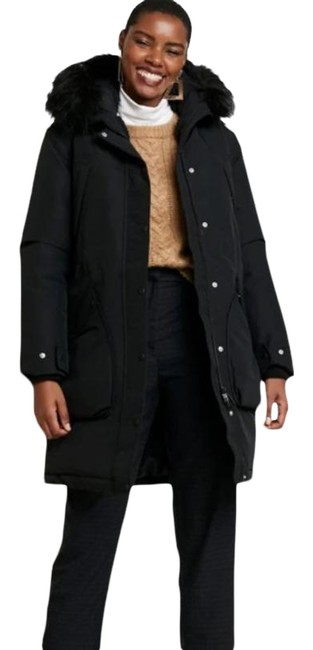 Item - Black Sherpa Lined Insulated Hooded Parka Jacket Coat Size 8 (M)