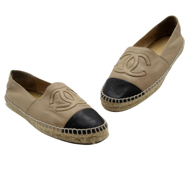 Item - Beige Leather Cap Toe Cc Embroidered Espadrilles 7 Flats Size EU 38 (Approx. US 8) Regular (M, B)