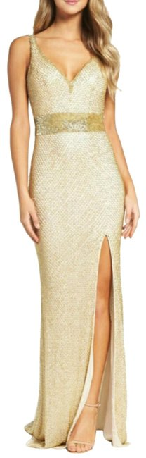 Item - Gold Tan Beaded Mesh Column Gown Long Casual Maxi Dress Size 6 (S)
