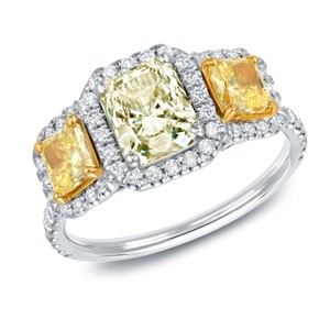 14k White Gold 2 1/4ct Tdw Certified Radiant Cut White And Yellow Diamond Ring (j-k Si-1)