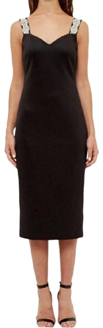 Item - Black Embellished Strap Bodycon Mid-length Short Casual Dress Size 8 (M)